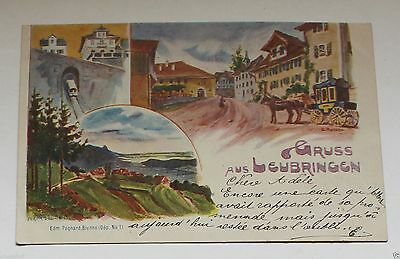Old German Painting Art Postcard. Post Cancellation in 1893