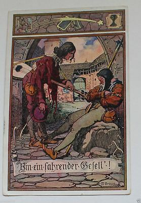 Old German Painting Art Postcard. Post Cancellation in 1911
