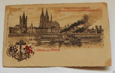 German Art Postcard Greeting from the Rhine. Postlly sent in 1904
