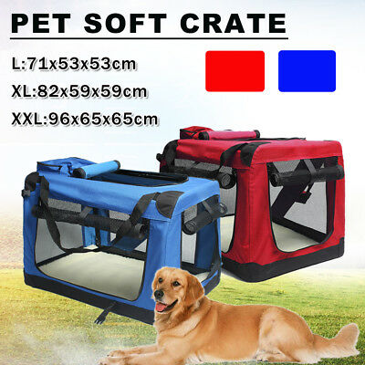 Red or Blue Pet Dog Soft Fabric Carrier Crate Portable Kennel Foldable Cage Bag