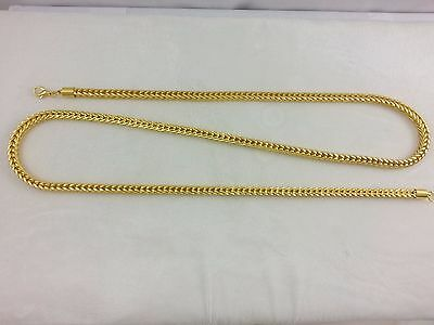 "Real 18k Gold Filled Netted Solid Franco Box Rope Link Chain Necklace 30"" 5mm"