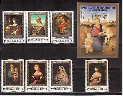 Hungary 1983 #2785/92 Set + S/s Mint Nh, Raphael Paintings !!