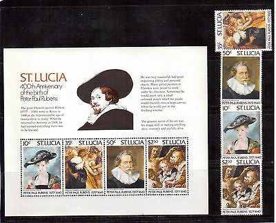 ST. LUCIA 1977 #434/437a SET + S/S MINT NH, PETER PAUL RUBENS PAINTINGS !!
