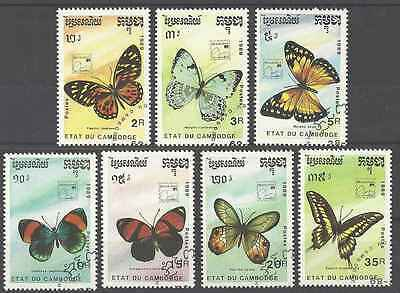 Timbres Papillons Cambodge 886/92 o lot 2025