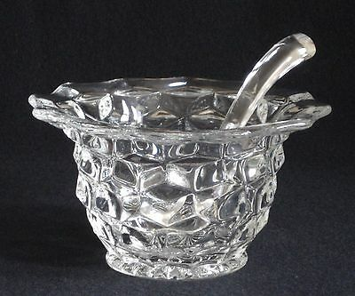"""Vintage Fostoria American Glass Round Flared Top Mayo Bowl 5-1/2"""" Glass Ladle"""