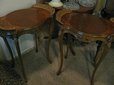 Beautiful Pair French End or Side Tables Inlaid Wood Carved SALE!!