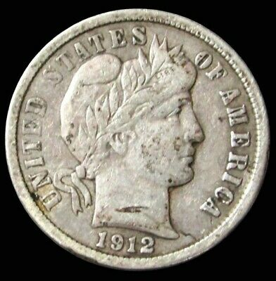 1912 D Silver Barber Dime Coin Extra Fine