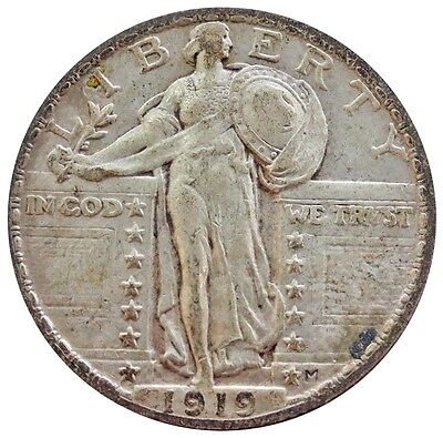 1917 Silver United States Standing Liberty Quarter Coin Extremely Fine Condition