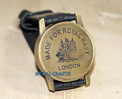 Vintage Brass Compass Nautical - US Marine Directional Wrist Watch Leather Strip