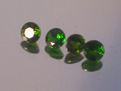 Diopside, 4.5mm round brilliant cut Russian chrome diopside,0.24 ct each,1 only