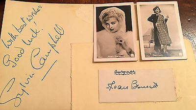 Sylvia Campbell And Joan Bennett  Actresses  Seperate Genuine Autographs