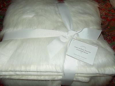 POTTERY BARN FAUX SUN BEAR OVERSIZED THROW BLANKET, 60x80 IVORY NEW