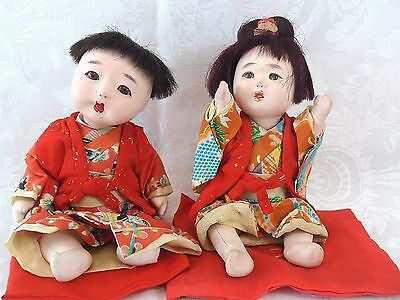 "Japanese Ichimatsu Gofun Dolls Girl Boy Pair Vintage 7"" Composition Glass Eyes"