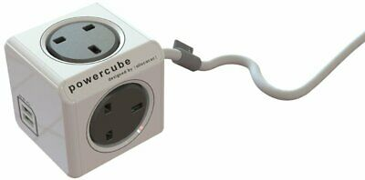 Allocacoc PowerCube Extended Dual USB 4 Way Outlets Power Strip Socket 1.5m Grey