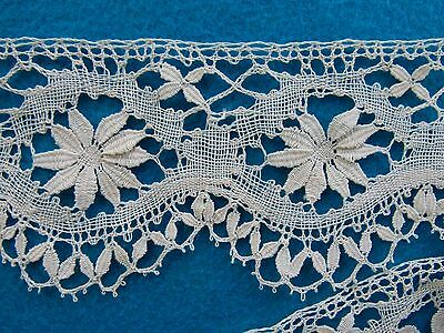 Antique Unused Handmade White Linen Cluny Lace Trim, Light Cream1 .49 Yd  X 3""
