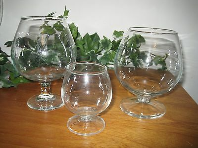 Brandy Snifters Bottles Clear Glass - Set Of 3 - Different Sizes - Unknown Maker