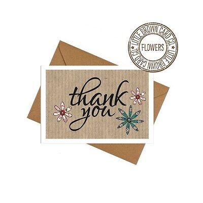 10 Pack Mini Cards/Thank You Cards With Envelopes - Flowers