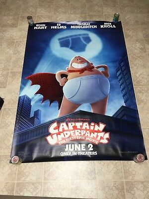 CAPTAIN UNDERPANTS 4ft x 6ft BUS SHELTER original movie poster D/S Kevin Hart