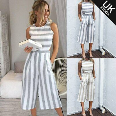 Ladies Women Summer Jumpsuit Sleeveless Clubwear Wide Leg Pant Summer Outfits