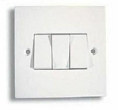 3 Gang Plate Switch 2 Way White Electrical Light Switches with Screws