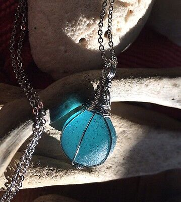 "Marble Aqua Blue Sea Glass Necklace Glow 20"" Stainless Chain HandMade Frosted"