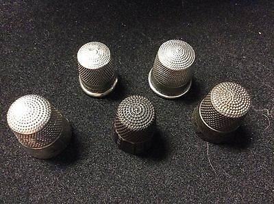 Vintage Sterling Silver Set Of Five Thimbles