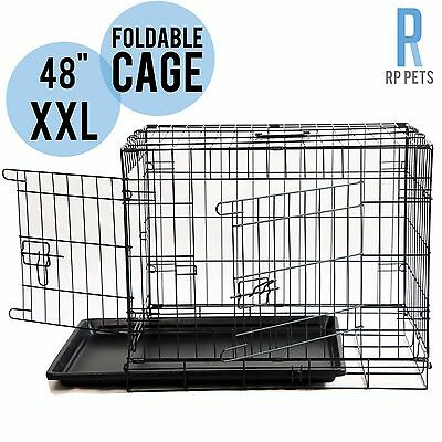 "Dog Puppy Cat Pet Carrier Cage Kennel Collapsible Metal Crate w/Tray 48"" XXLarge"