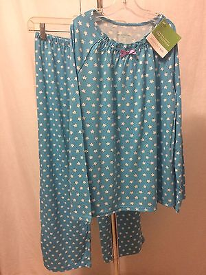 New! NWT GARNET HILL Girls Green Cotton Long Sleeve PAJAMAS Aqua Blue Stars XL