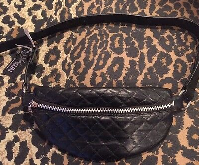 Black Quilted Classic Fanny Pack Waist Bag Nwt