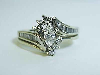 14K White Gold Marquise Round Cut .50ctw Natural Diamond Wedding Bridal Set