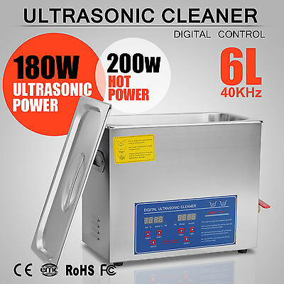 6L 6 L New Stainless Steel  Industry Heated Ultrasonic Cleaner Heater  w/Timer