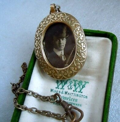 Antique Edwardian  Photo Pendant Man Top Hat Walking Stick Necklace Watch Chain