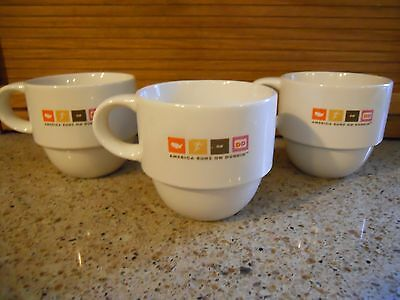 Set Of 3 Dunkin' Donuts America Runs On Dunkin' Coffee Cup/Mug-Stackable EUC