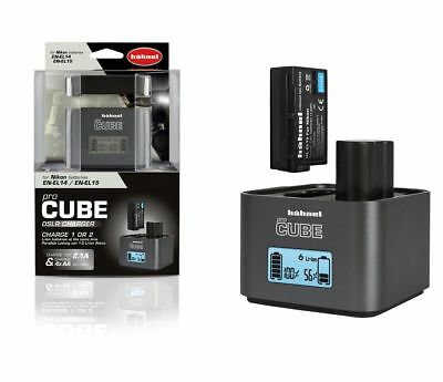 Hahnel ProCube Mains & Car Twin LCD for Nikon MH-25 Charger EN-EL15 Battery