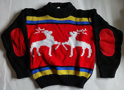 VINTAGE The eagle's eye Sz L Large 6-7 Reindeer hand knit ugly xmas sweater NWT