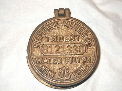 Vintage Brass TRIDENT Water Meter Guage Cover NEPTUNE METER Co NY Brass