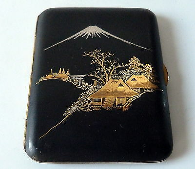 Vintage 1920s Japanese Damascene Cigarette Case Signed K24 Gold Silver Inlay