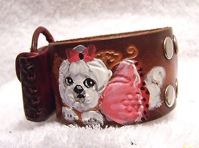 hand painted Maltese genuine leather  adjustable real coin bag bracelet