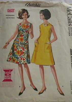 Vintage McCall's 1960's Pattern 7159 Junior Petite Dress Easy to Sew Size 7-9