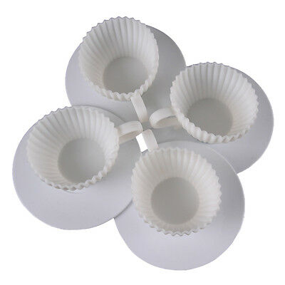 4pcs Silicone Cupcake Cups Cake Mold Muffin Baking Mould Tea Cup Case Q1F6