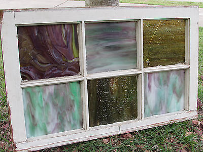 ANTIQUE 6 PANE STAINED GLASS WINDOW w/ BULLET HOLE!!-ARCHITECTURAL-REPURPOSING