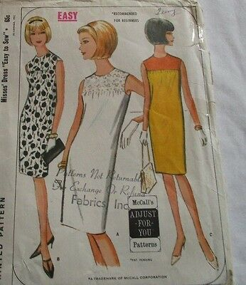 Vintage McCall's 1960's Pattern 7813 Misses' Dress Easy to Sew Size 10-12