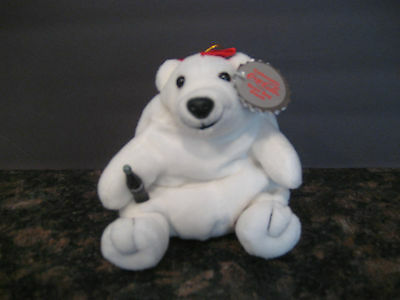 "NWT 6"" Coca-Cola Plush Bean Bag Stuffed Polar bear in Red bow Plush bean Bag"