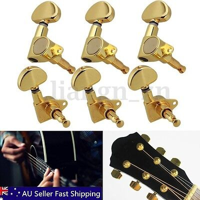 6pcs Gold Guitar String Tuning Pegs Machine Heads Tuners 3R 3L Semicircle Button