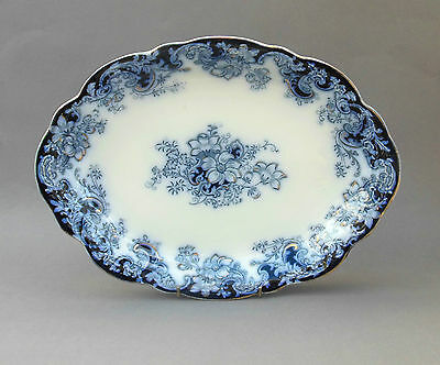 "Antique Alfred Meakin ~ Oval MEAT PLATE 14"" ~ ""ORMONDE"" ~ Flow Blue Platter"