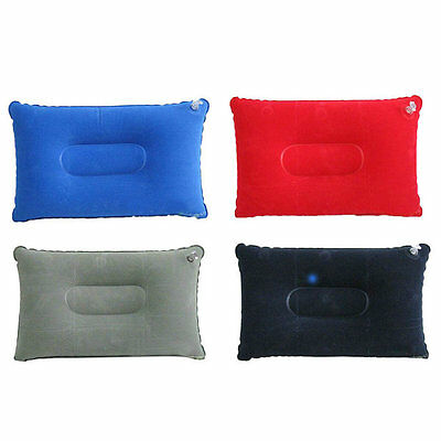 Inflatable Pillow Neck Support Flocked Fabric Blow-Up Cushion Travel