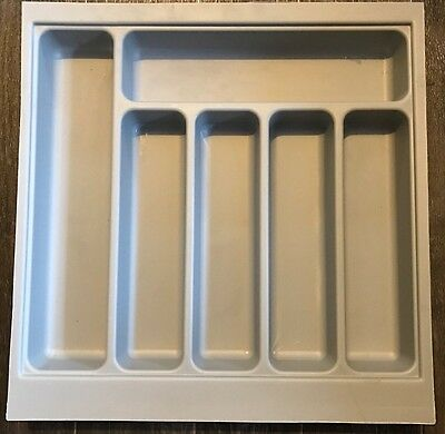 B&Q 6 Compartment Kitchen Drawer Cutlery Insert Tray Grey Plastic 500mm Base