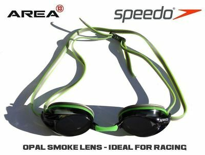 Speedo Opal Smoke Competition Racing Swimming Goggles, Green & Silver