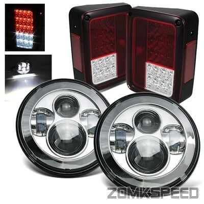 07-15 Wrangler JK Chrome 40W CREE LED Projector Headlights/Red Clear Tail Lights