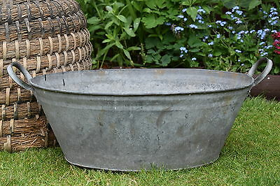 Vintage Tin Bath old trough watering can tub plant pot planter garden herb tools
